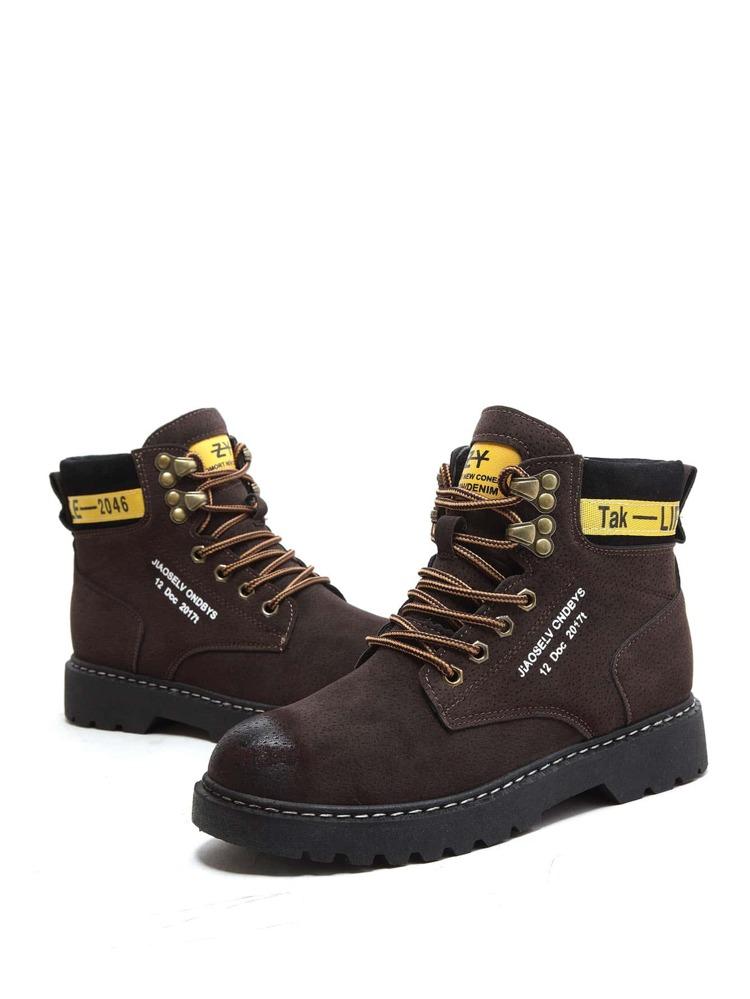 3e0771643 أحذية برقبة طويلة ربط الحذاء الأسمر غير الرسمي | شي إن