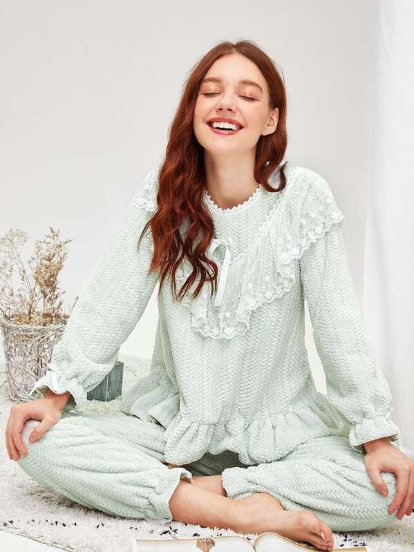 Conjunto de pijama con felpa bajo fruncido con encaje floral-Spanish ...