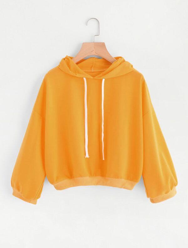 27a5b67dc6 Plus Solid Hooded Sweatshirt -SheIn(Sheinside)