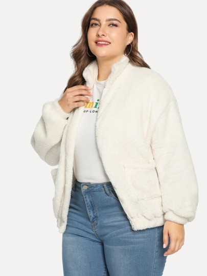 85c2b07d4c0 Plus Zip Up Pocket Side Teddy Jacket