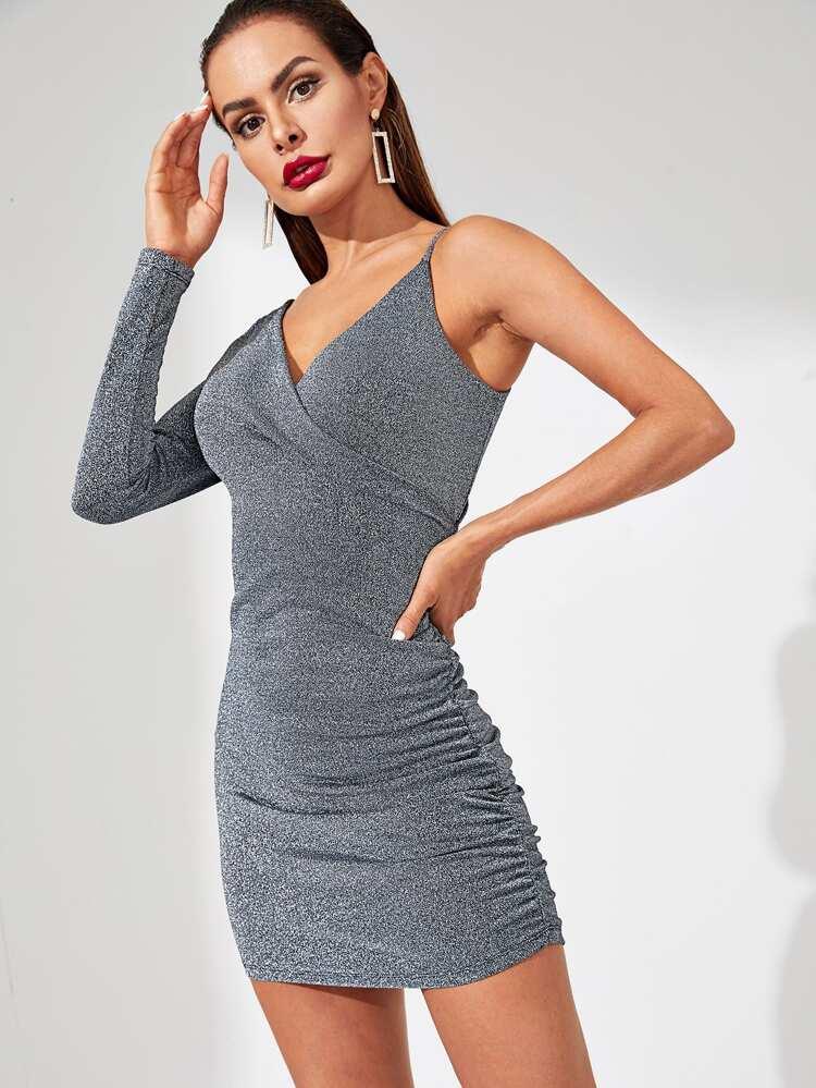 c1cbcf0adc Surplice Neck Ruched Asymmetrical Dress