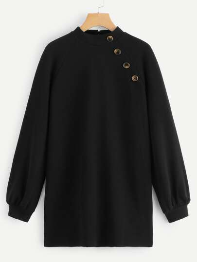 Button Detail Keyhole Back Sweatshirt 8ff5027c0