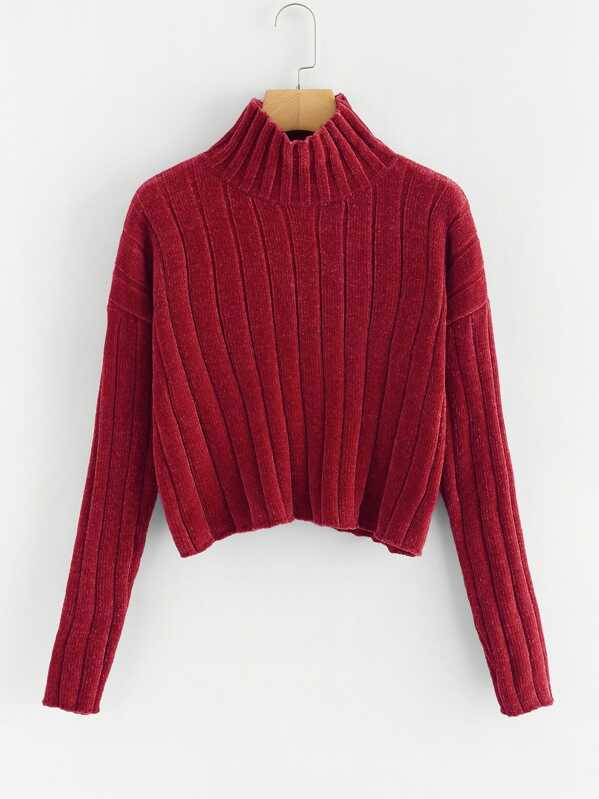High Neck Raw Hem Crop Sweater, Burgundy