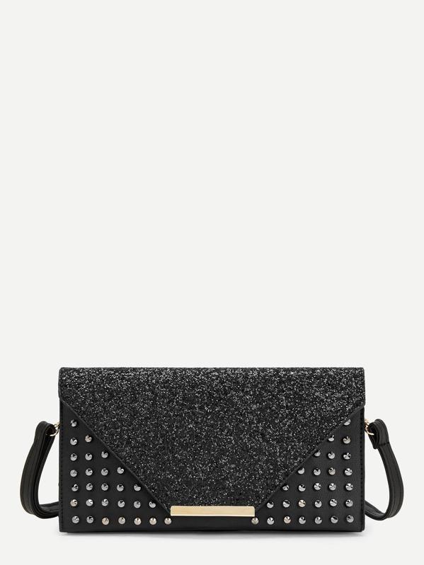 2d42206fe2 Studded Detail Glitter Clutch Bag -SHEIN(SHEINSIDE)