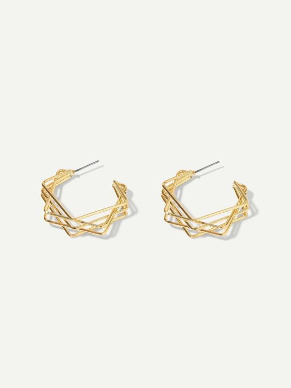 Layered Geometric Shaped Hoop Earrings 1pair by Sheinside
