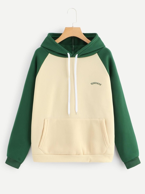Contrast Panel Letter Print Hooded Sweatshirt