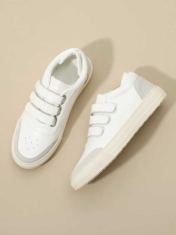 Solid Velcro Detail Low Top Sneakers