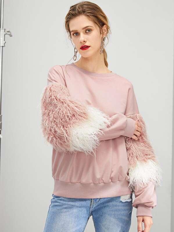 3581fa0423 Faux Fur Detail Drop Shoulder Pullover -SHEIN(SHEINSIDE)