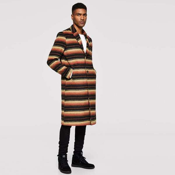Men Single Breasted Striped Notched Coat