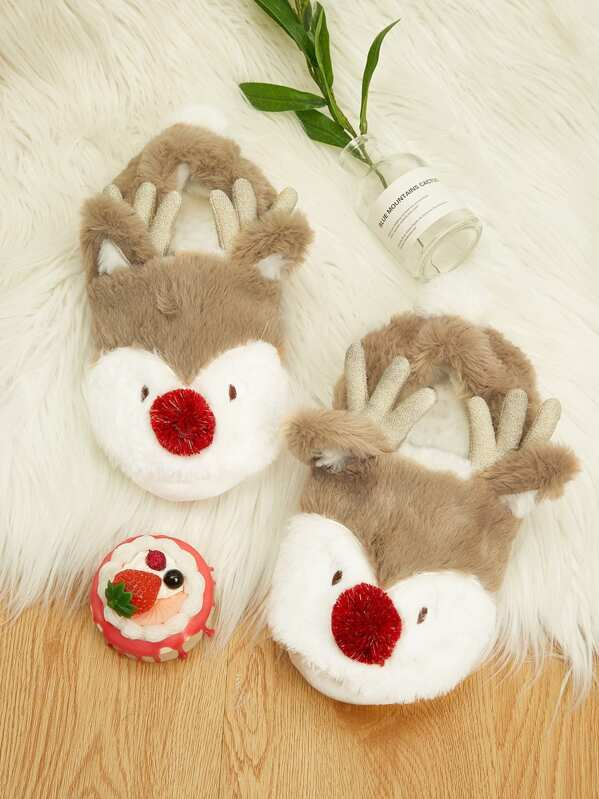 Christmas Cartoon Antlers Decor Fluffy Slippers