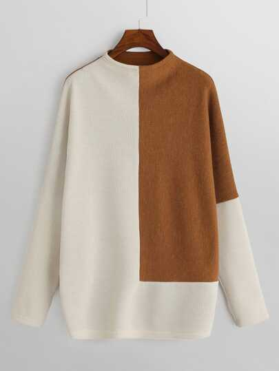Two-Tone Mixed Knit Sweater 06c9813e3