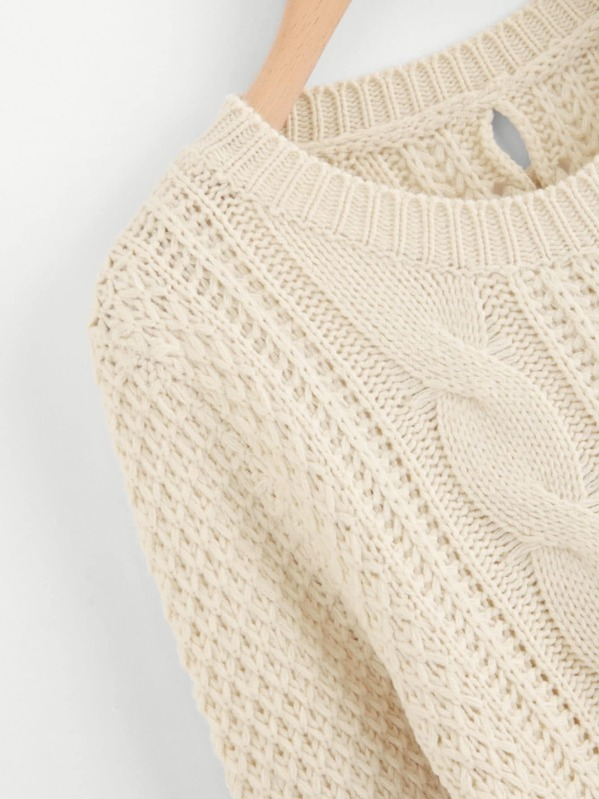 Jersey con tejido mixto con diseño de encaje - grande-Spanish SheIn ...