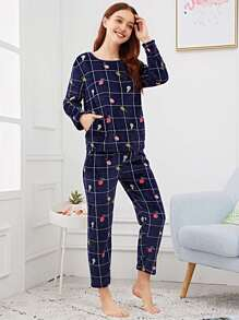 95d32c232c Pineapple Print Plaid Plush Pajama Set