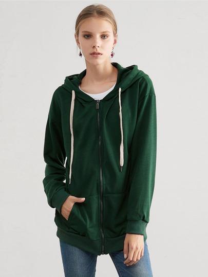 d711a6a58a47 Preppy Slätt Dragkedja Dra Igen Blixtlåset På Grön Sweatshirts