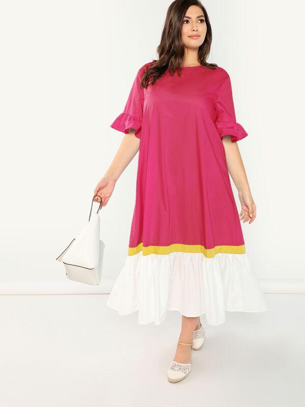 43b37cb66d7 shein.com - Plus Flounce Sleeve Contrast Hem Dress - imall.com