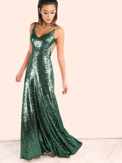 Backless Sequin Cami Maxi Dress Rose Gold Shein Sheinside