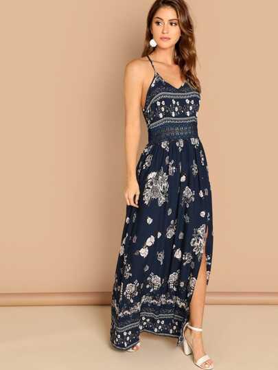 b05388cce9e Guipure Lace Insert Split Floral Maxi Cami Dress