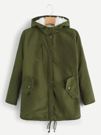 Cappotto con cappuccio con dettaglio di zip e29b4728711