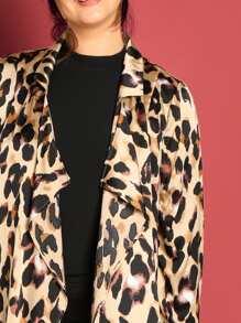 94dc8199d37 Plus Drop Shoulder Leopard Satin Coat