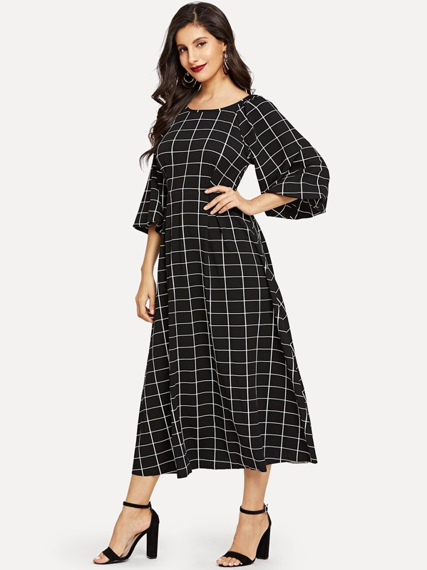 Lantern Sleeve Fit and Flare Grid Dress