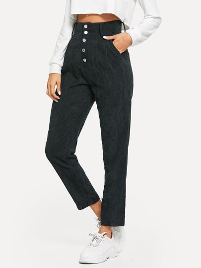 Pantalon en velours côtelé taille haute avec boutons dcf7f692195