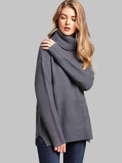 24383c704c Split Side High Neck Sweater