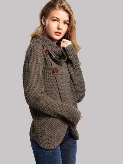69543a64a2c Button Front High Neck Overlap Sweater