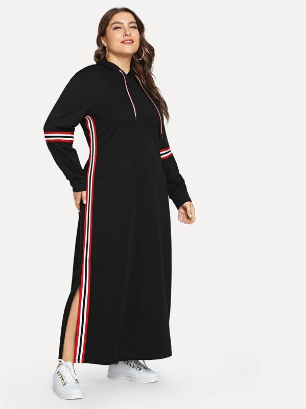 bien conocido bastante agradable proporcionar un montón de Vestidos Tallas Grandes Cordón A rayas Negro Casual
