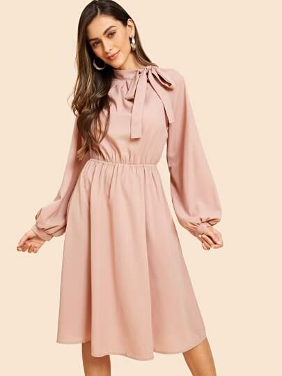 919d25dc9aab Tie Neck Balloon Sleeve Flare Dress