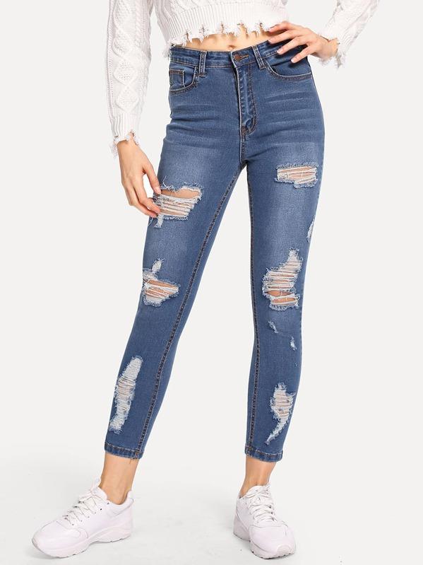 Blå Knapp Slätt Tillfällig Jeans -Svenska SHEIN(SHEINSIDE) 1382c47eb4a63