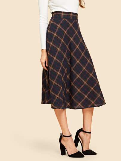 78b376b3ec 60s Wide Waistband Plaid Skirt