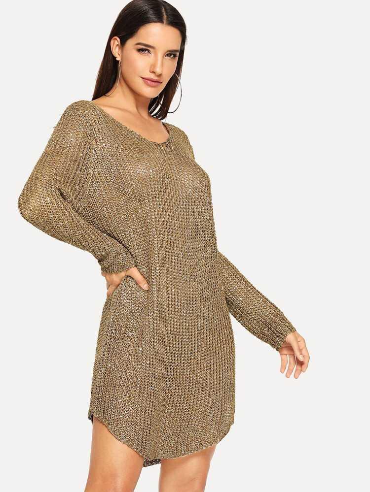d1c28d423ab Loose Knit Curved Hem Sequin Sweater Dress