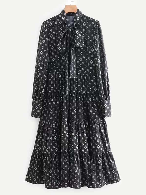 d649579f435 shein.com - Tie Neck Geo Pattern Dress - imall.com