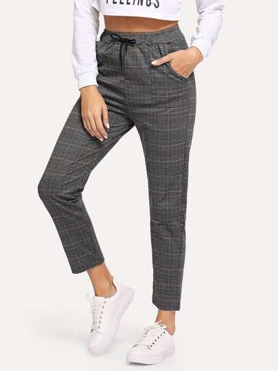 d7a9f2d6adcf Pantalon à carreaux avec cordon à la taille