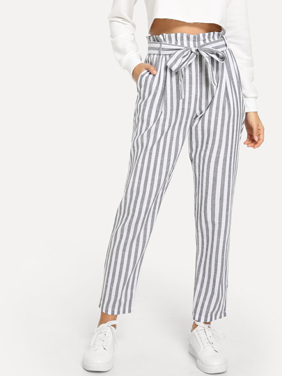 9d81f5fe9f5 Vertical Striped Frill Belted Pants