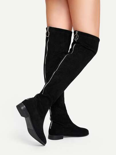f1a4c791046 Solid Suede Knee Length Boots