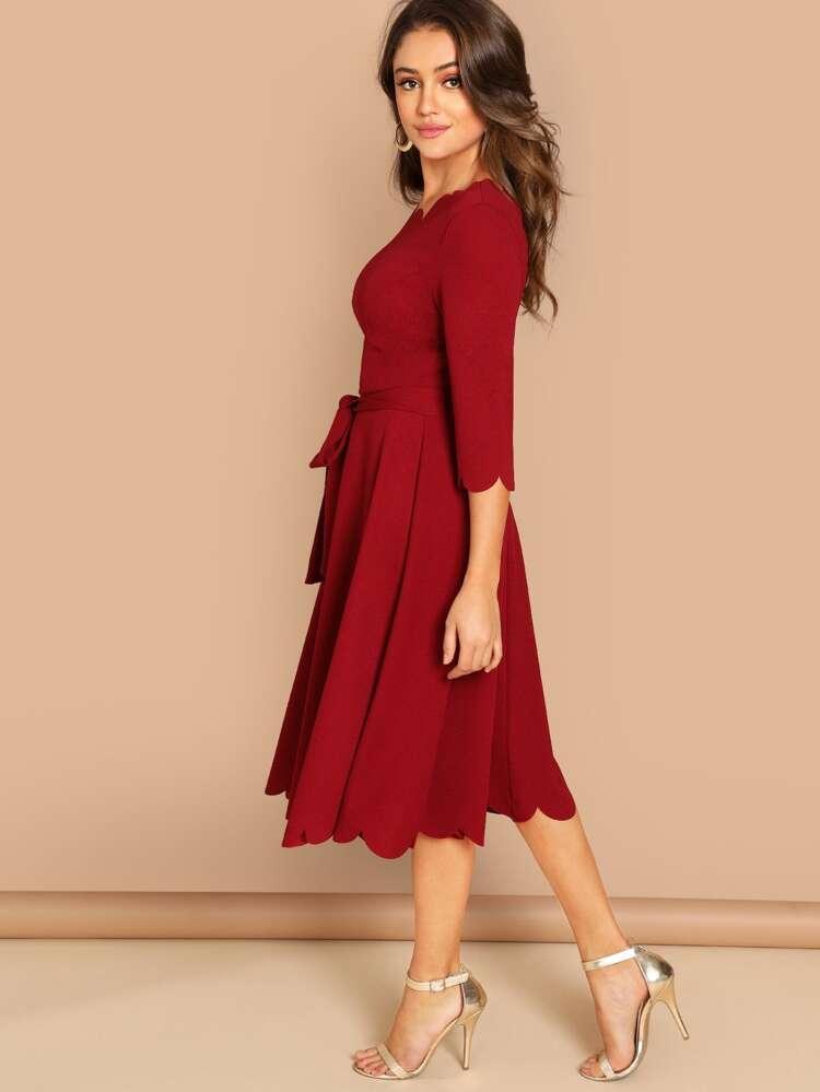 f0566d115199b Scallop Trim Fit & Flare Dress With Belt   SHEIN