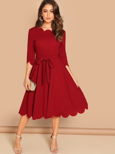 21c72b5fa42 Scallop Trim Fit   Flare Dress With Belt