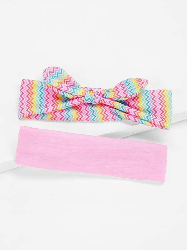 Girls Chevron & Plain Headband 2pcs