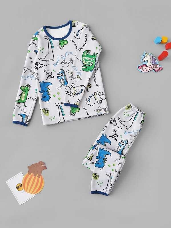 bella vista raccolto scegli ufficiale Set pigiama da bambini con stampa dinosauri