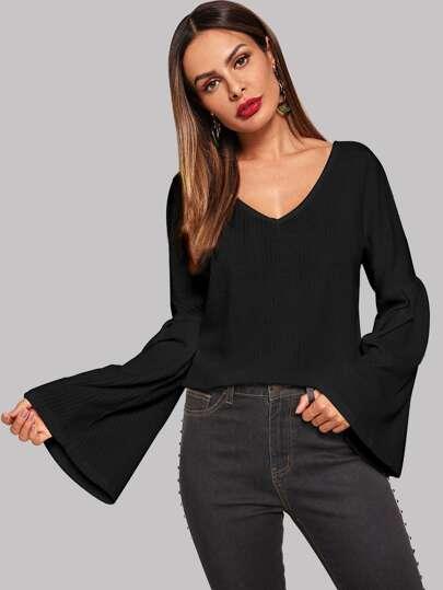 Bell Sleeve Ribbed Solid Sweater b6daa72b8