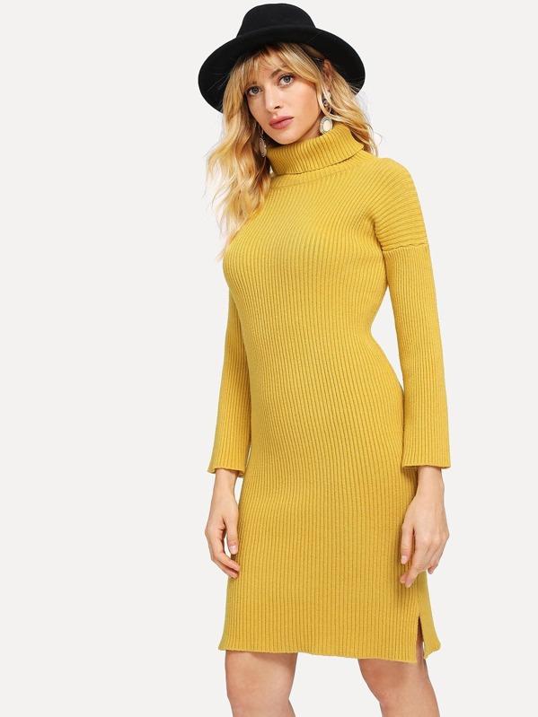 86996a07ca87 Ribbed High Neck Split Sweater Dress -SheIn(Sheinside)