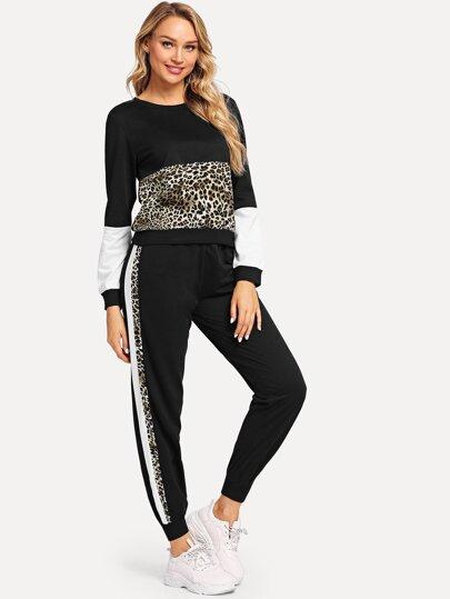 Svart Leopard Tillfällig Tvådelad Outfit 116b3704ee17d