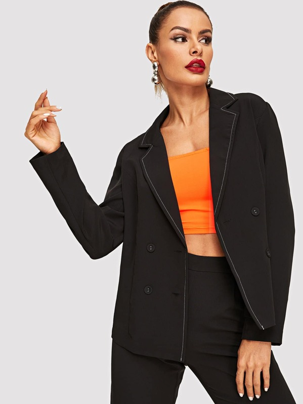 Contrast Tipping Notched Collar Blazer, Black, Andy