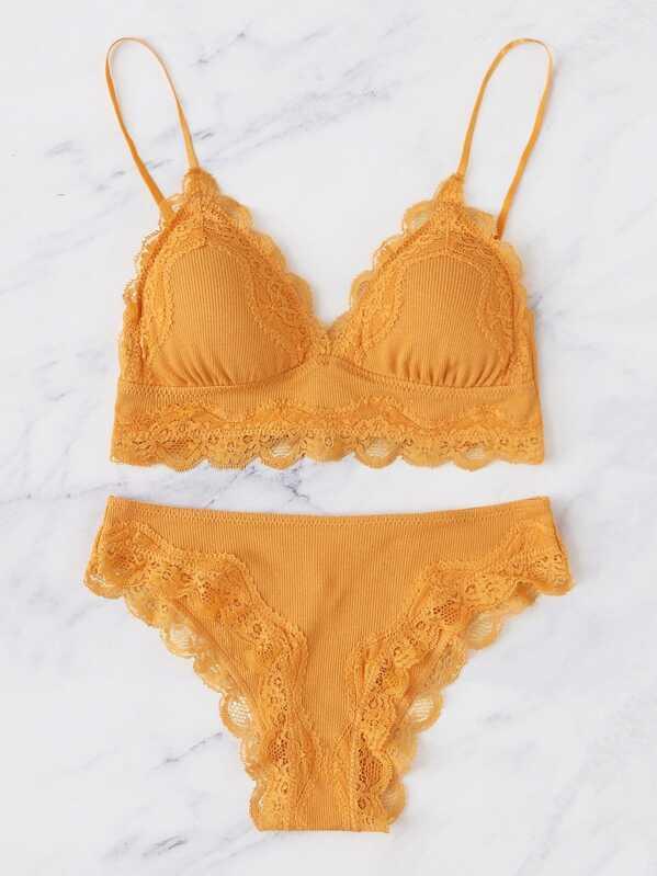 Gul Kontrast Spets Sexig Underkläder -Svenska SHEIN(SHEINSIDE) e8c341e6a7fae