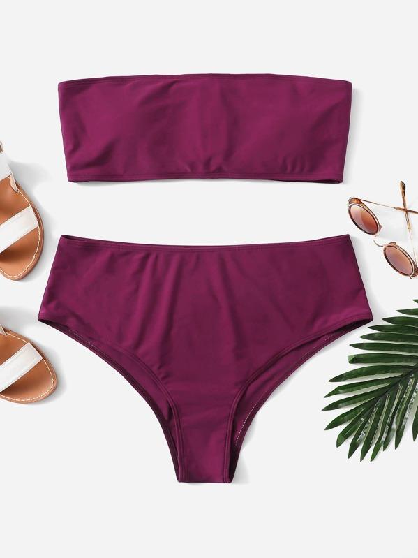 d5af0ce197 Plus Lace-up Bandeau With High Waist Bikini Set