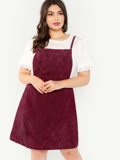 986a96e384 Plus Bib Pocket Patched Corduroy Dress