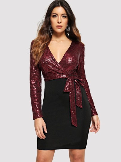 Sequin Bodice Two Tone Wrap Dress