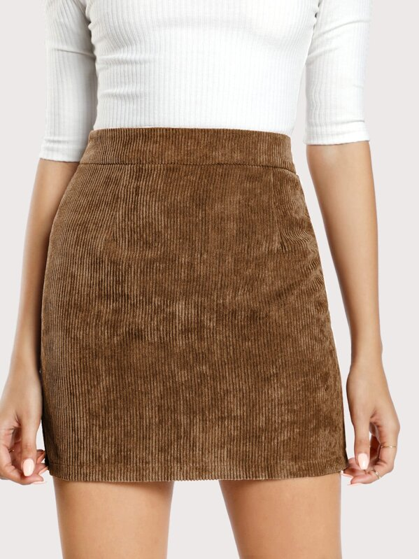 Solid Corduroy Bodycon Skirt by Shein