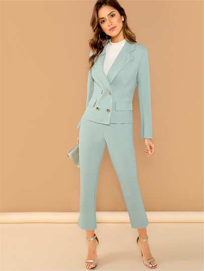 e47633b2af5 Notch Collar Double Breasted Blazer and Pants Set